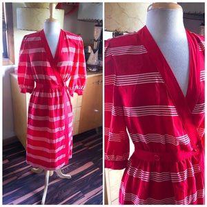 Vintage 1940s Style Dress Stripe Wrap PinUp